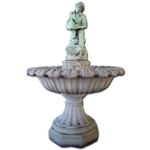 Fontaine En Pierre Vasque Sur Pied Homme Et Poisson Lebonvivre Fr Fontaine Pierre Vasque Pierre