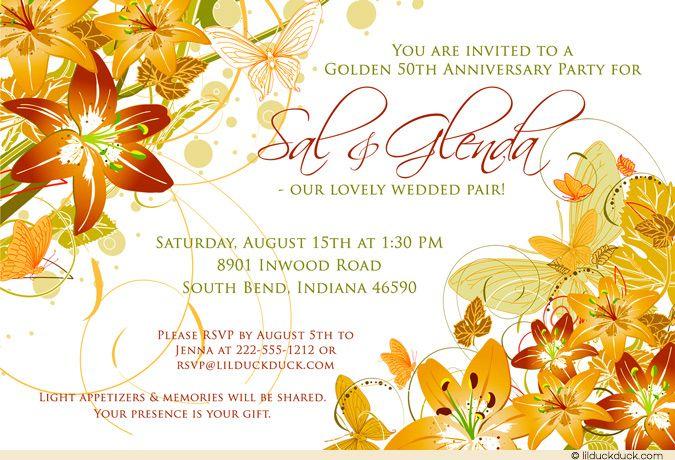 Elegant Lily Anniversary Invitation