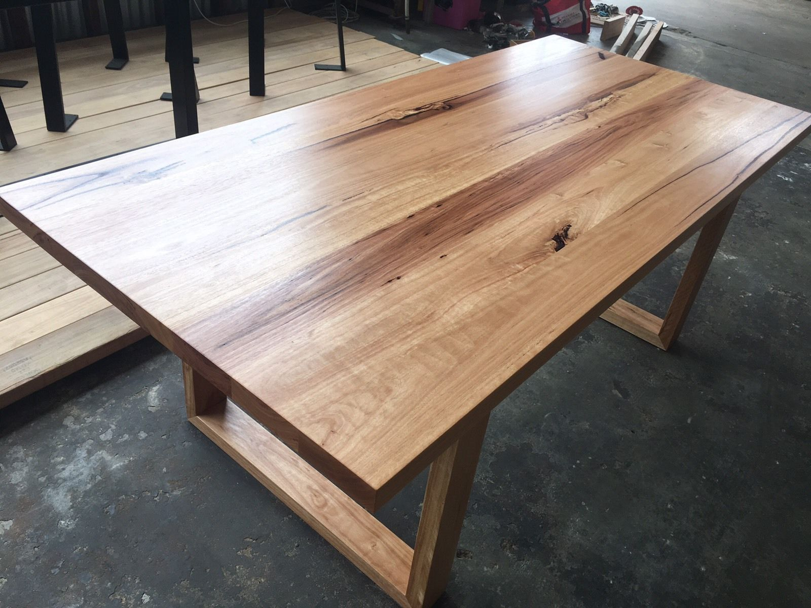Handmade Blackbutt Hardwood Dining Table Timber Loop Leg Brisbane Timber Dining Table Handmade Dining Table Dining Table