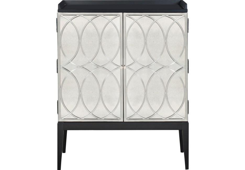 Lafield Silver Accent Cabinet Mirrored Furniture Furniture Mirror Cabinets