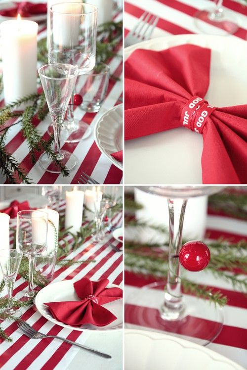 Striped christmas table