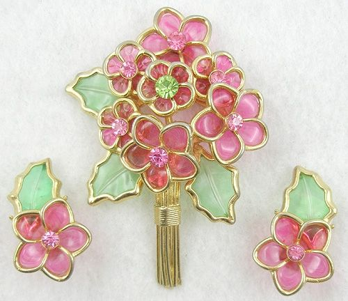 Coro Pink Flower Bouquet Brooch Set - Garden Party Collection Vintage Jewelry