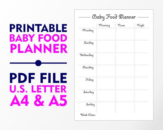 weekly baby food planner a4 a5 and u s letter by vecprin on etsy