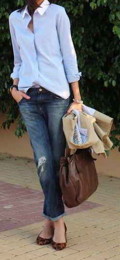 Love men's style dress shirts + bf jeans. Classic/Feminine/Preppy   Raddest Looks On The Internet: http://www.raddestlooks.net