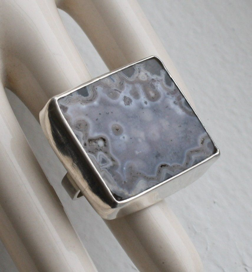 Brazilian Agate Silver Ring size 7 by fugudesigns on Etsy
