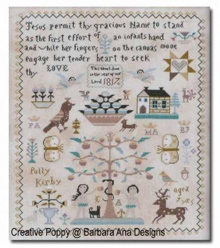 Polly Kirby Sampler Cross Stitch Pattern By Barbara Ana Designs