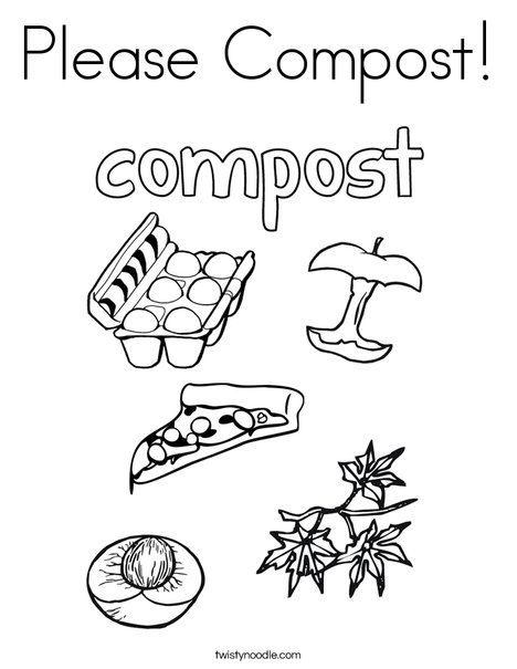 Please Compost Coloring Page Twisty Noodle Earth Day Coloring