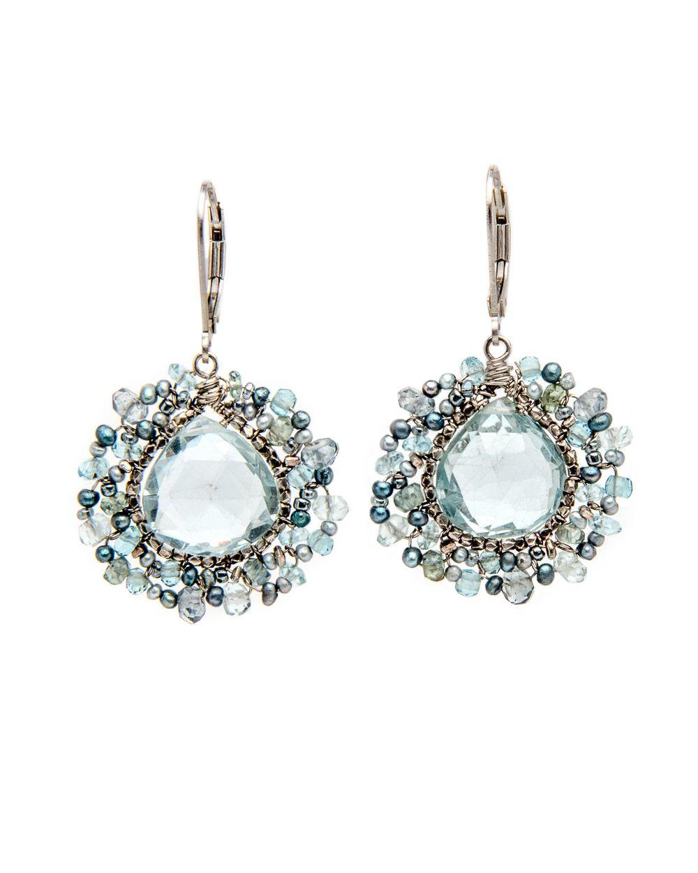 Dana Kellin Wire Wrapped Blue Star Mix Teardrop Earrings Faceted ...