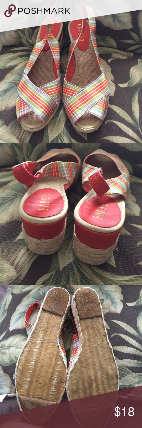 Ralph Lauren wedge EUC. Only worn once. Size 8.5. Colors are orange, light blue, lime green, yellow and white Ralph Lauren Shoes Wedges