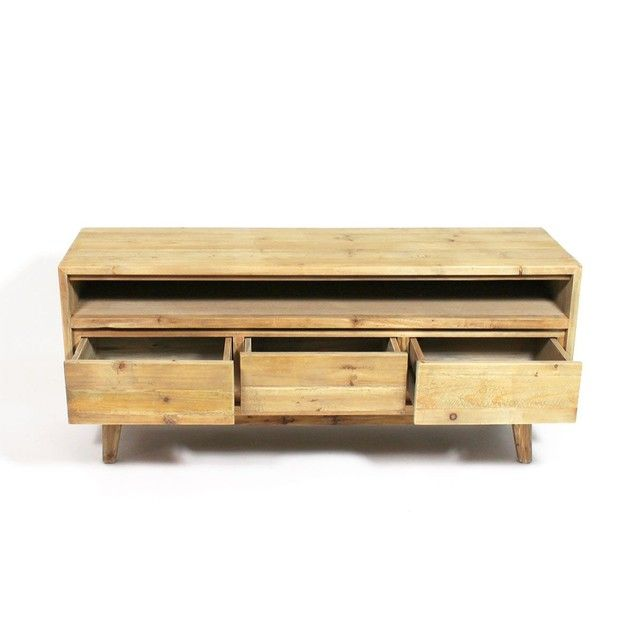 Meuble Tv Bois Massif Scandinave 3 Tiroirs 1 Niche Lop99 Taille