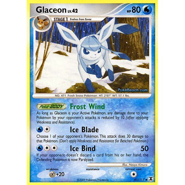 Pokemon Rising Rivals Single Card 041 111 Glaceon Pokemon Pokemon Platinum Snow Pokemon