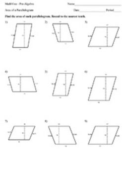 Area Of Parallelograms Worksheets 6th Grade: Area of a Parallelogram Worksheets   Homeschool   Pinterest   Math    ,
