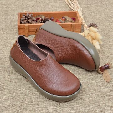 genuine leather slip on platform retro round toe flat