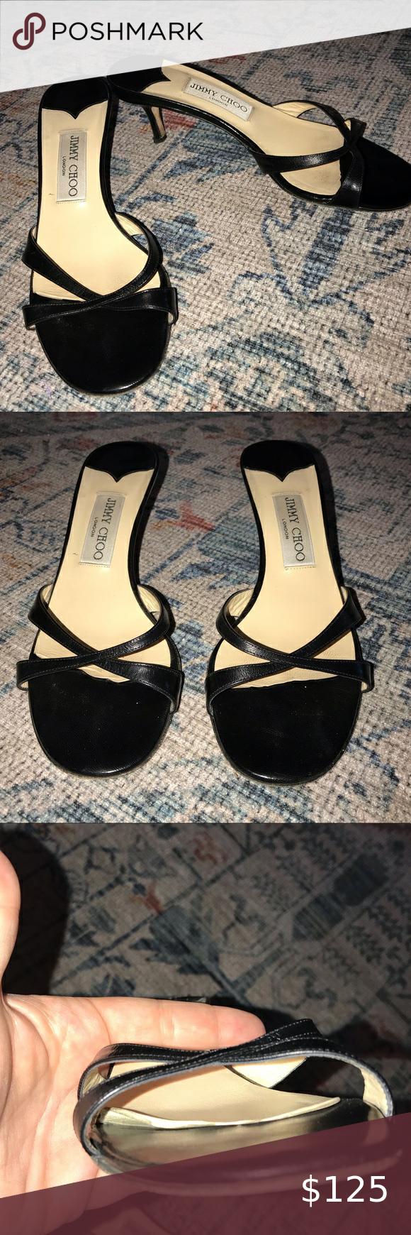 Jimmy Choo Black Leather Kitten Heel Sandals 37 5 In 2020 Kitten Heel Sandals Sandals Heels Heels