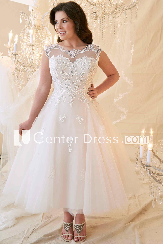 Tea length plus size wedding dresses  ALine TeaLength ScoopNeck CapSleeve LaceuTulle Plus Size Wedding