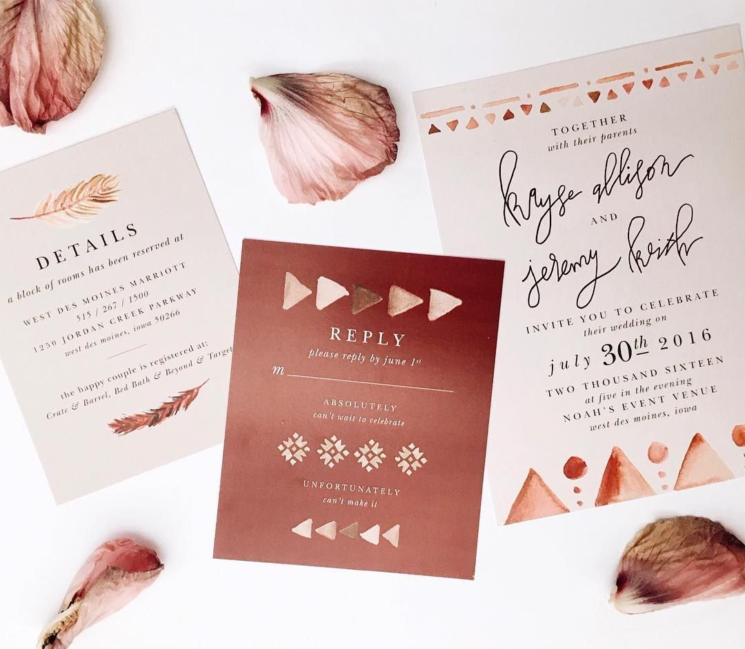 bohemian styled wedding invitation suite, neutral colors, aztec ...