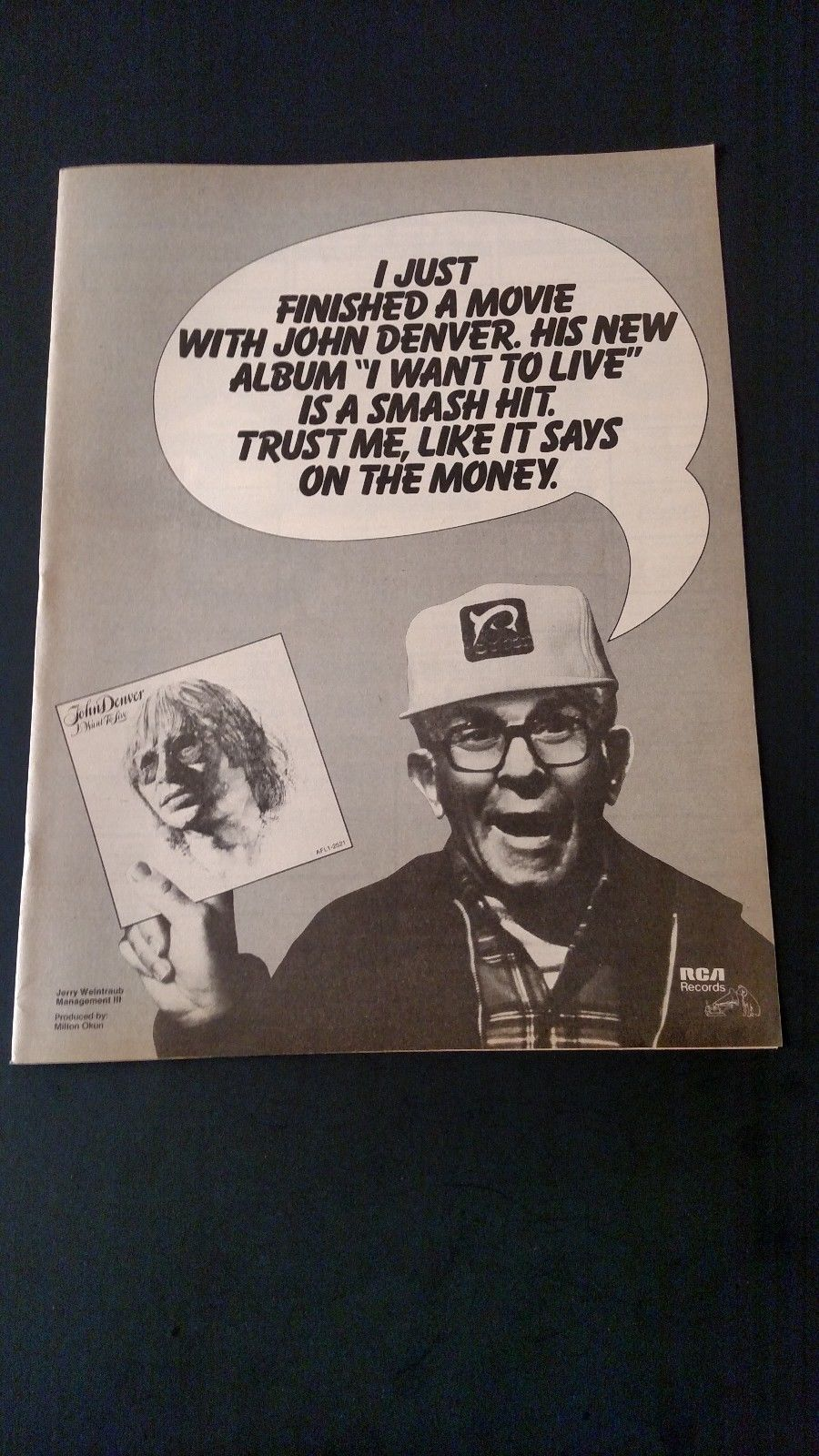John denver grandma s feather bed sheet music - Rare Vintage Original Print Promo Poster Ad George Burns John Denver 1977 Ebay