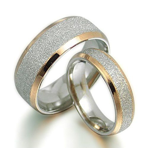 Gemini His and Her 18K Gold Filled Matching Titanium Wedding Rings