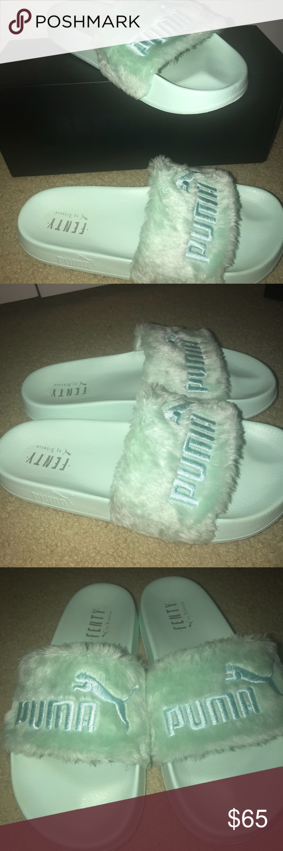 detailed look 533a3 021d7 Fenty Puma Fur Slides Mint green (bay) colored slides. Size ...