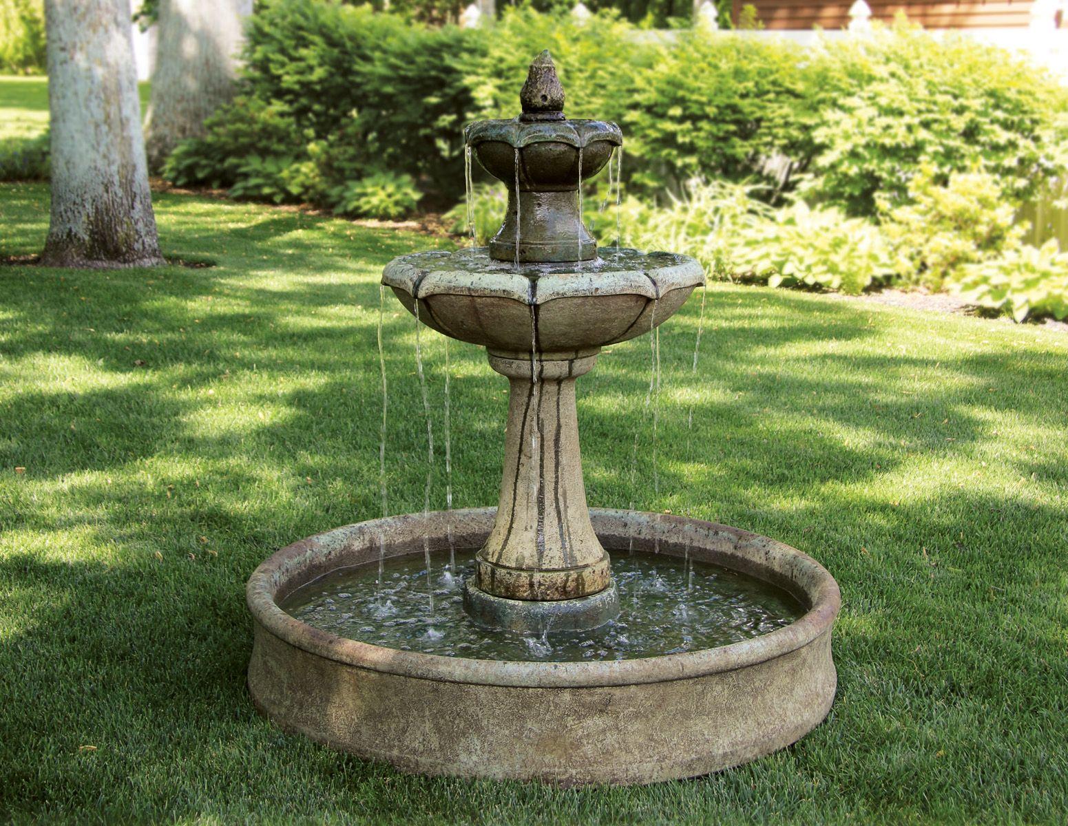 Delightful Two Tier Charlotte Fountain On Pool | Massarelliu0027s