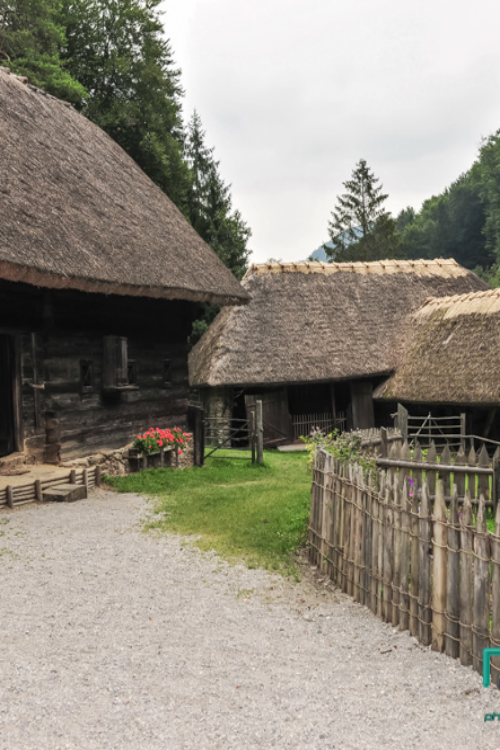 Historic alpine village, old farmhouses, Alps, Austria