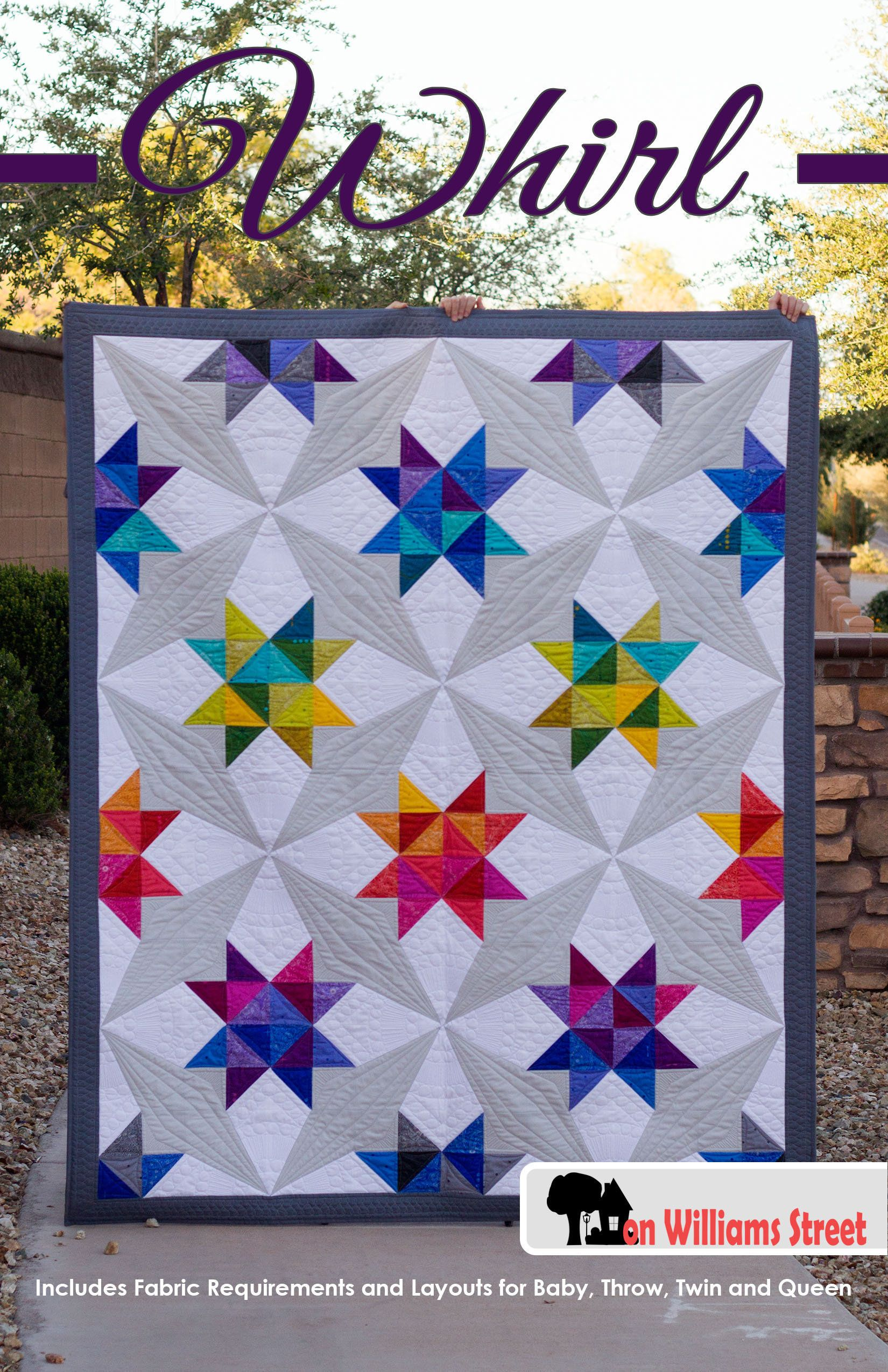 Whirl Modern Half Square Triangle And Paper Piece Pdf Quilt Pattern Beginner Quilt Patterns Paper Piecing Quilts Modern Quilting Designs
