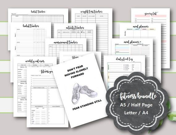 #calorie #Fitness #Inserts #Meal #planner #Printables #Tracker         FITNESS Planner Printables, F...