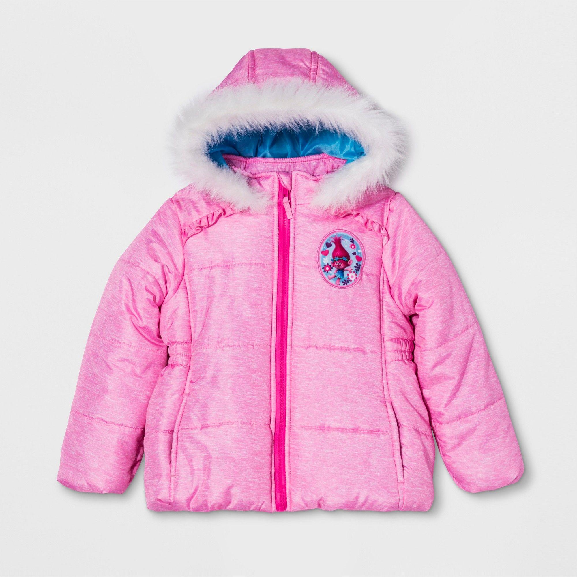 4ee9e6ddc Girls' Trolls Puffer Jacket - Pink 6X | Products | Puffer jackets ...