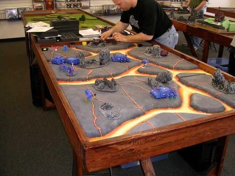 WarHammer 40K table with lava flows!  Cool!  Or ... Hot actually.