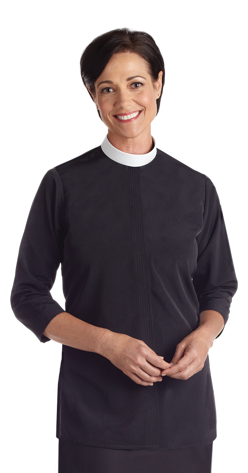 CS650 Woman's Short Sleeve Neckband Tunic Clergy Blouse