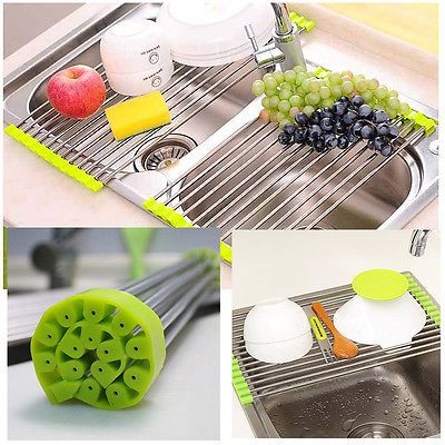 Kitchen Sink With Dishes details about foldable stainless steel rack dish cutlery drainer