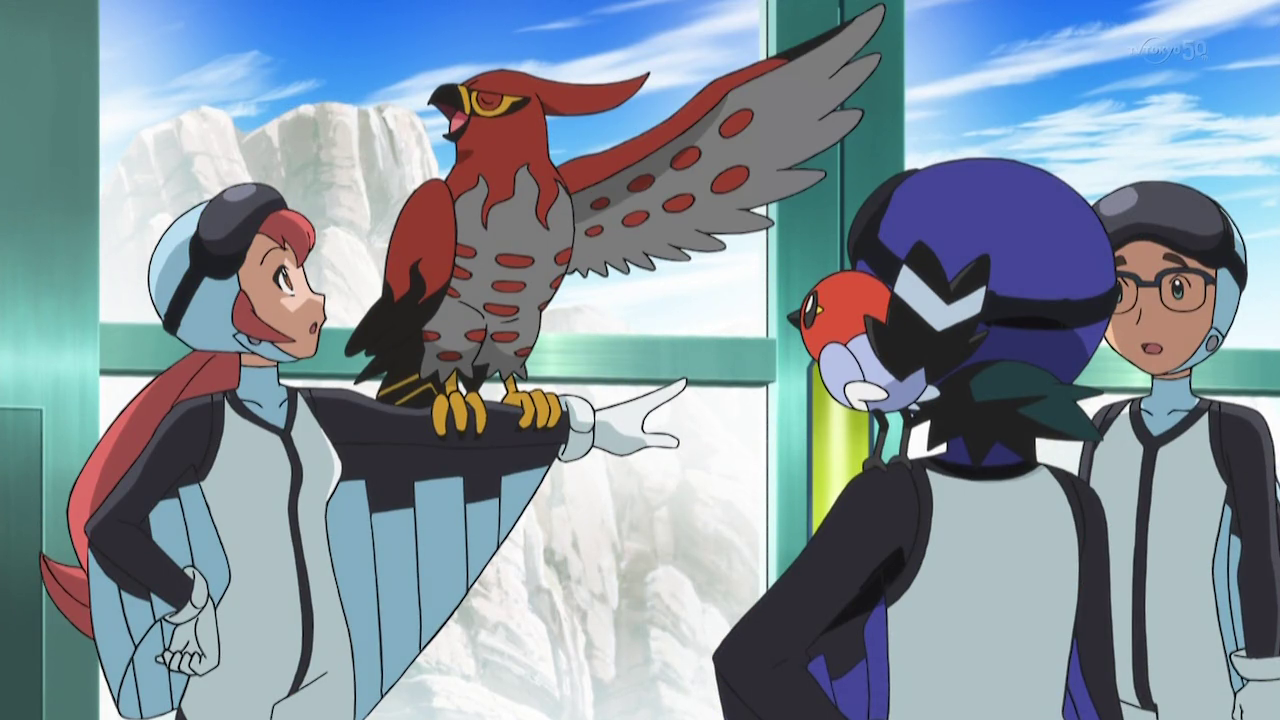 Ash and his Fletchling with someone's Talonflame ^_^ ^.^ ♡