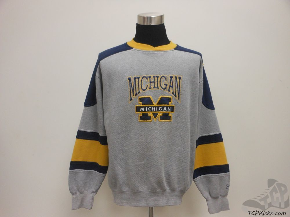 Vtg 90s Midwest Embroidery Michigan Wolverines Crewneck Sweatshirt