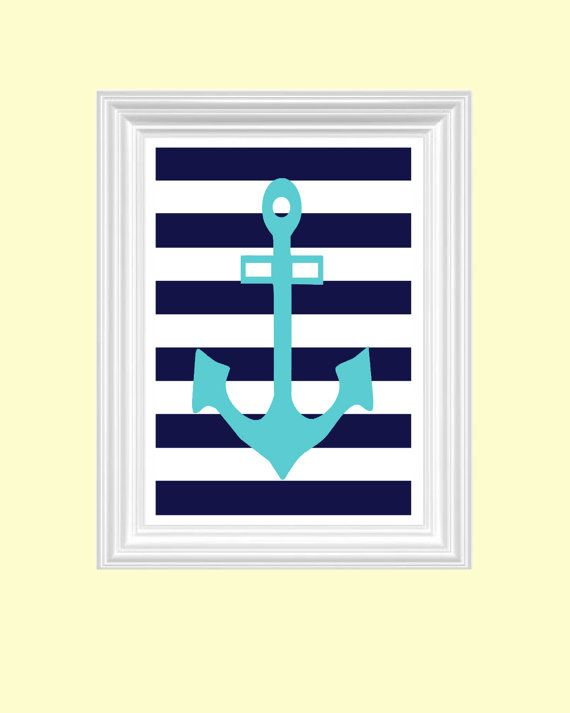 ocean nautical nursery art print anchor wall art navy blue cyan art print home decor