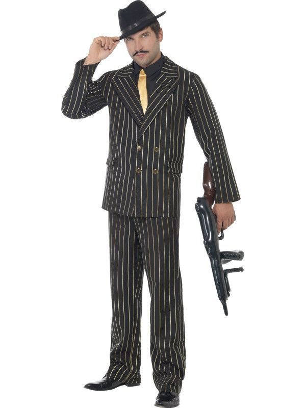 NEW Gold Pinstripe Black Gangster Suit 1920/'s Gatsby Mens Fancy Dress Costume