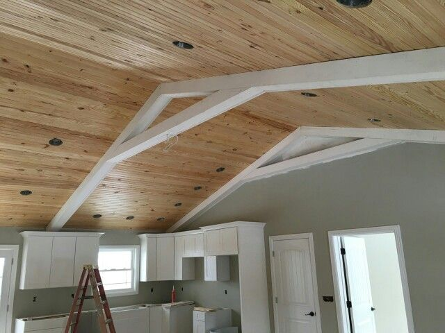Red Farmhouse Tongue And Groove Vaulted Ceiling With White Beams Sherwin Williams Mindful Gray Walls White Beams Vaulted Ceiling Beams Small House Design