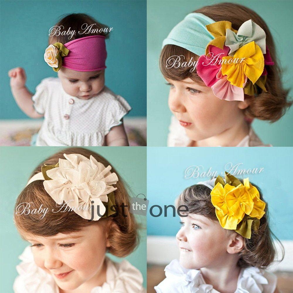 Baby child girls cute lovely headwear flower elastic cotton headband