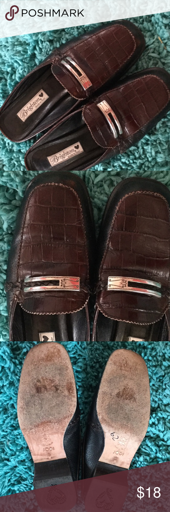 Brighton Jodi slides sz 9 shoes Brown croc leather upper with silver adorning   Great shape. Wear to soles moderate Brighton Shoes Mules & Clogs