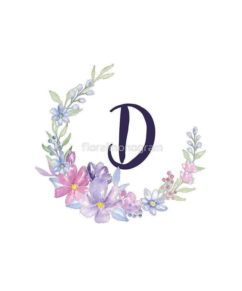 Monogram D Pastel Watercolor Flowers Sticker By Floralmonogram In 2021 Watercolor Flowers Letter Photo Collage Pastel Watercolor