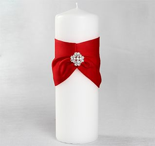 Garbo Red And White Wedding Pillar Unity Candle With Rhinestone Crystal Brooch