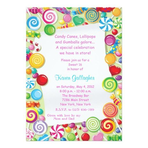 Candyland candy Theme Sweet 16 Invite Candy theme Candyland and