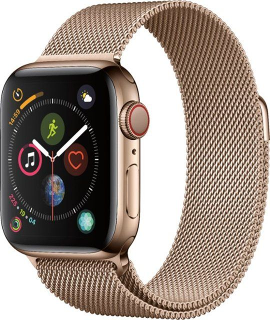 Best Buy Apple Watch Series 4 Gps Cellular 40mm Gold Stainless Steel Case With Gold Milanese Loop Gold Stainless Steel Verizon Mtut2ll A Buy Apple Watch Apple Watch Apple Watch Series