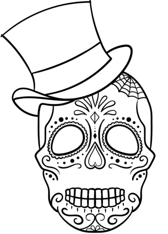 Sugar Skull With Top Hat Coloring Page