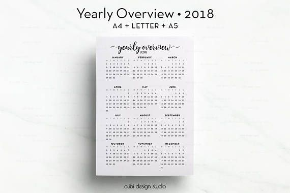 Yearly Overview 2018, A5 Planner Inserts, A4 Printable, 2018 Planner, Printable Planner, 2018 Printable, Yearly Planner, 2018 Calendar