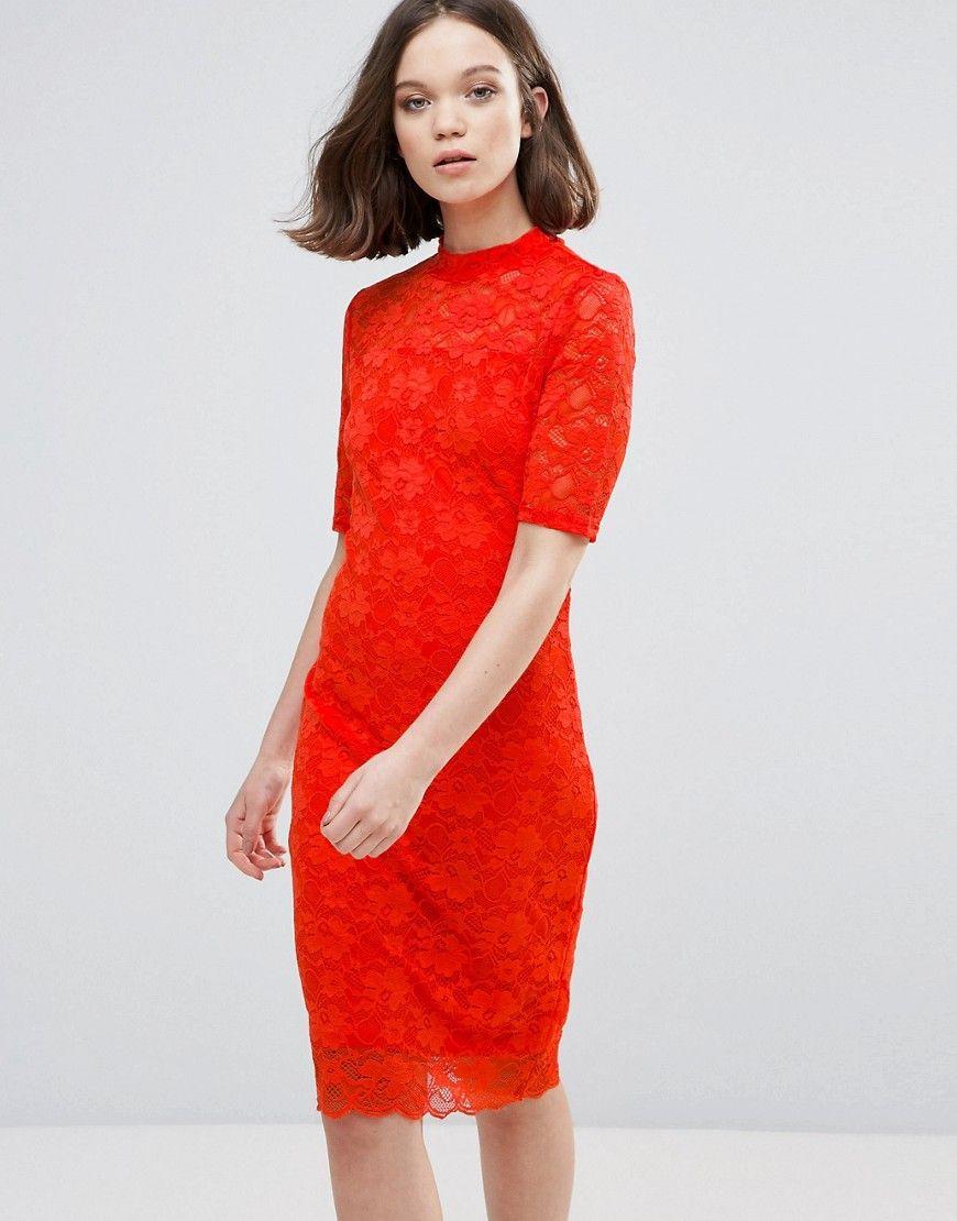4d9d98744ba06 Ichi 3/4 Sleeve Lace Midi Dress   Products   Vestidos, Vestidos ...