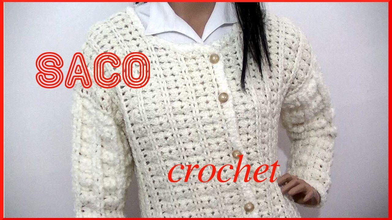 Saco Abanico en tejido crochet talle 44 tutorial paso a paso ...