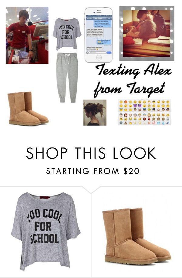 """Texting Alex from Target"" by crazy-vibes-tippers ❤ liked on Polyvore featuring Boohoo, UGG Australia, Sacai Luck, tumblr, bored and alexfromtarget"