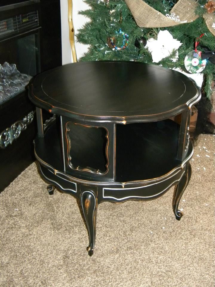2 Tiered Black U0026 Silver Round End Table