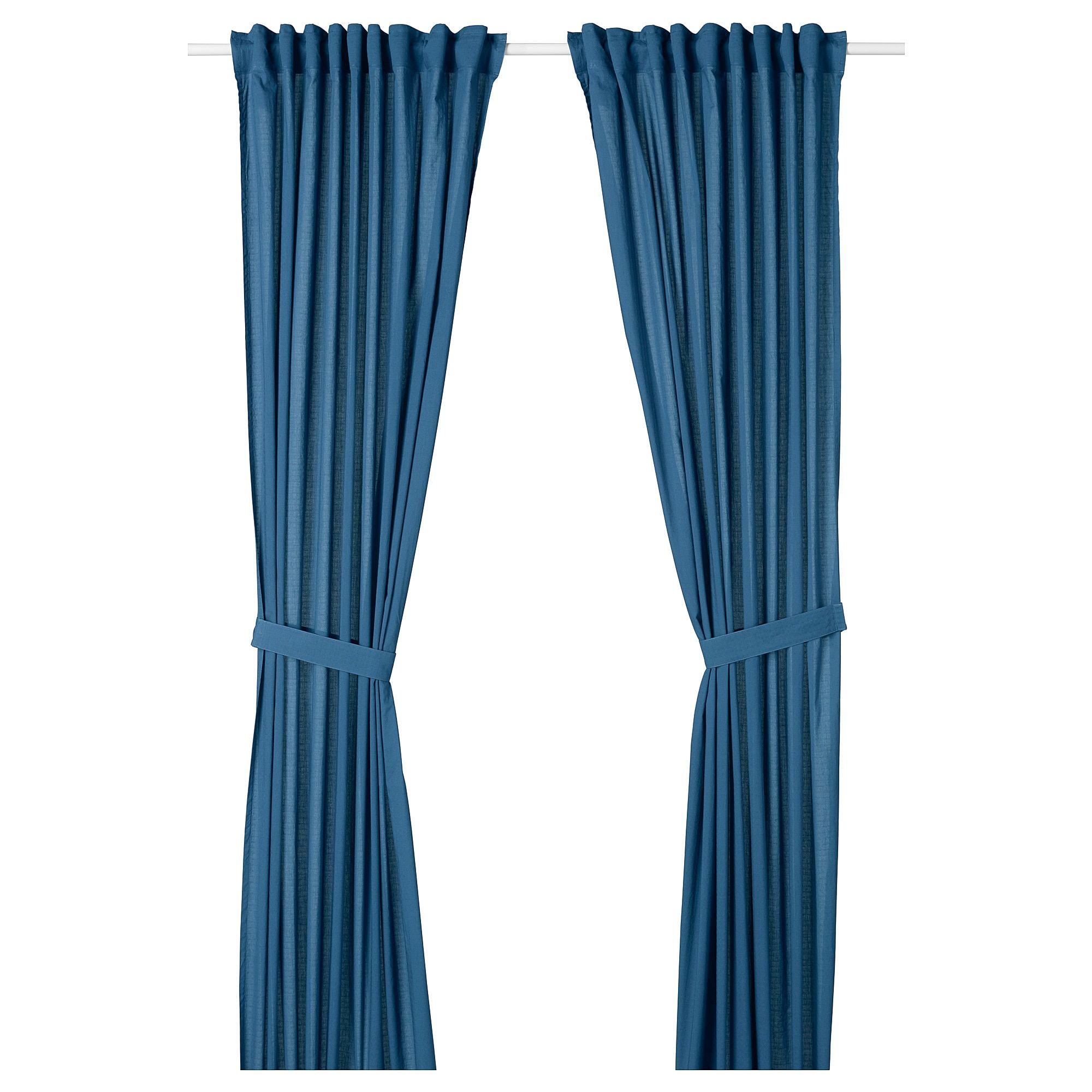 Amilde Curtains With Tie Backs 1 Pair Blue 57x98 Curtains