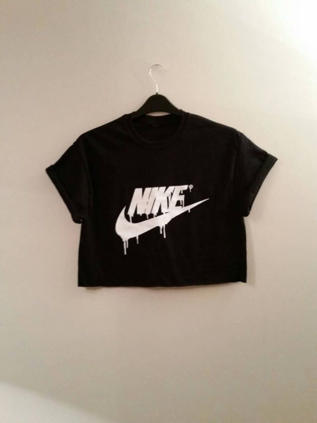 63e554541894 unisex customised dripping nike cropped t shirt one size l festival swag